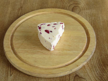 wensleydale: Cheese on a breadboard Stock Photo
