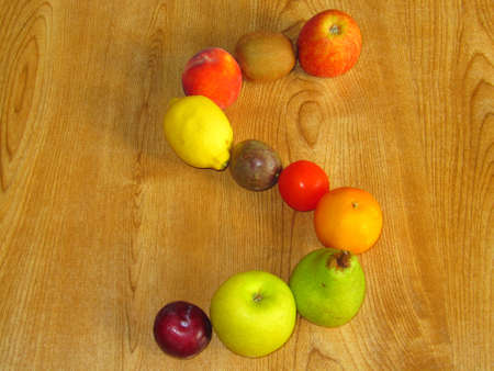 A selection of fruit in the shape of the letter S Stock Photo - 8118298