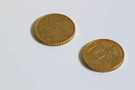 2 50: 2 used 50 cent Euro coins displayed side by side