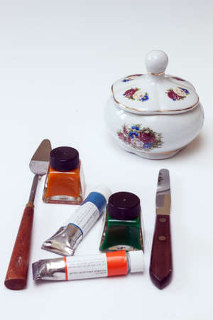 pallette: Art materials and a still life subject Stock Photo