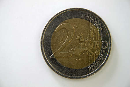 afford: A 2 euro coin displayed on a white background