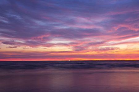 night views: Sunrise at Chao Lao Beach Chantaburi Thailand.