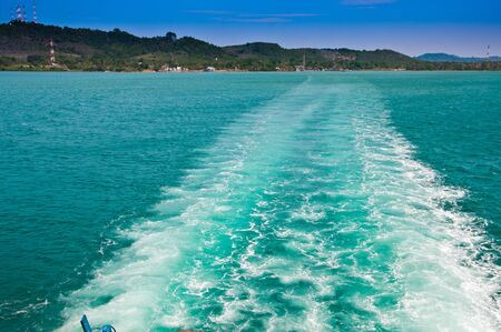 Waves of the sea from ships, Koh Chang Thailand. photo