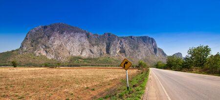 View of rural road and blue sky at Sa Kaeo Province, Thailand Stock Photo - 12445672