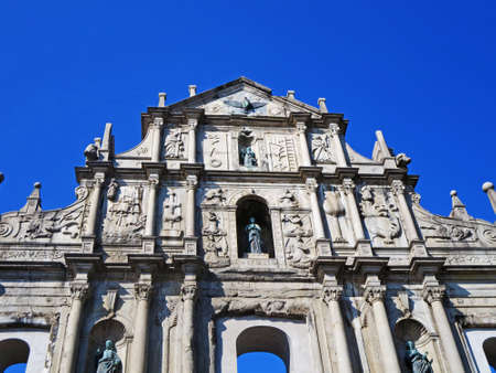 portugese: St. Paul Cathedral, Macau - February 1, 2014: Facade of the Ruins of St. Paul Cathedral in Macau. Photo taken during the Chinese New Year of 2014. Editorial