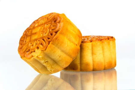 moon cakes with white background  photo