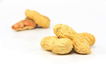 hulled: Peanut isolated on white background
