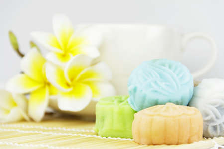 snow skin mooncakes isolated on bamboo