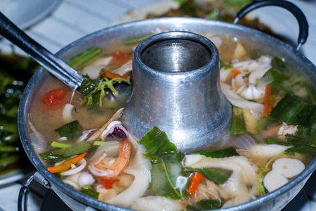 sour grass: Tom Yum seafood soup or spicy tom yum seafood soup