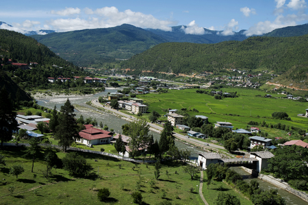 tibetan house: View of the city, Thimphu, Bhutan