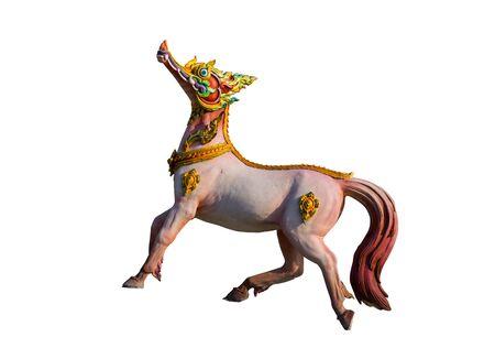 Himmapan animal sculpture on white background. Stockfoto