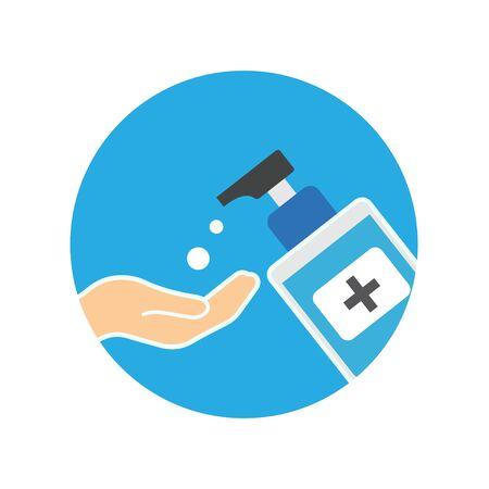 Hand sanitizer pump bottle, washing gel, alcohol gel Illustration