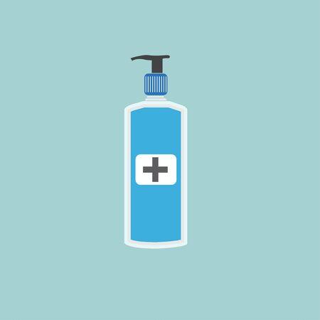 Hand sanitizer pump bottle, washing gel, alcohol gel Vector Illustration