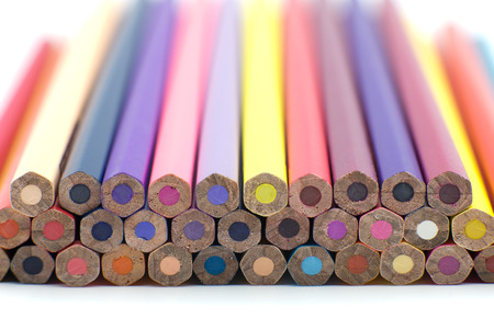 Group of color pencils isolated on white background, Colored pencils can be used as background and add text or word, Wooden colored pencils and free space Stock Photo