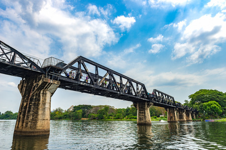 Steel bridge cross the river Kwai in Kanchanaburi, Thailand