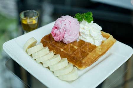 Ice cream buffers and banana,Sweets in a coffee shop