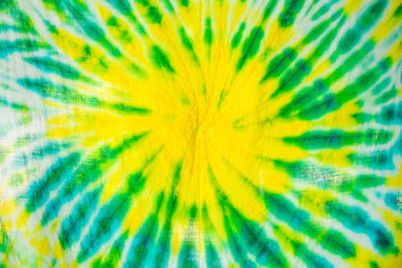 colourful tie dyed pattern on cotton fabric for background. 스톡 콘텐츠