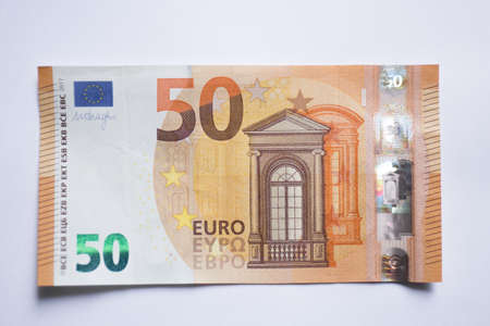 fifty euro banknote isolated on white background.Euro currency money 版權商用圖片