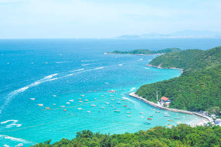 The mountains and the beautiful sea with the passage of the boat.Koh Larn Pattaya Thailand