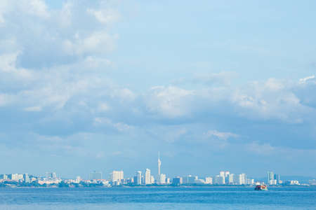 Beautiful sky with sea and boat tour background Pattaya City at Koh Lan Thailand. Stock Photo