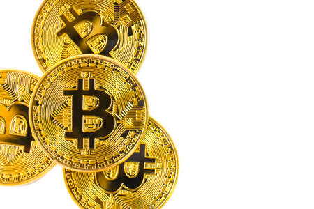 Golden Bitcoins isolated on white background,new virtual money.