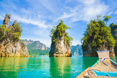 Khao sam kler limestone mountain, beautiful view of the Rajjaprabha Dam or Cheow Lan Dam Thailand.The most popular photo of the dam.