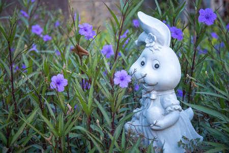 Rabbit decorative statue in garden