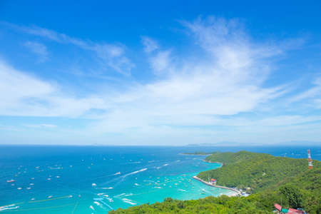 High angle view,Beautiful views of Koh Lan, mountains and sea along the corridor of the boat, Koh Lan, Thailand Stock Photo
