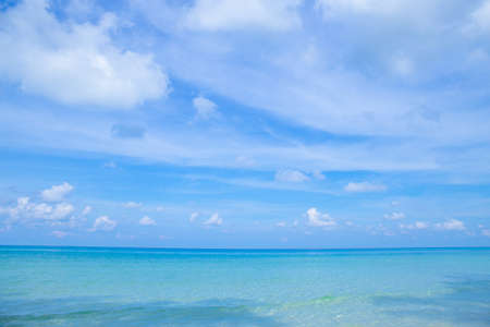 The beauty of the summer beach and the clear sea on the bright sky.At Klong Chao Beach Koh Kood, Thailand