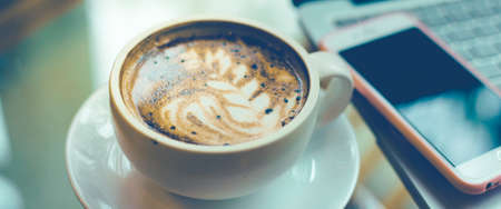 Coffee art with coffee cups and mobile phones.Web banner. Stok Fotoğraf