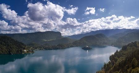 european alps: Panoramic view of Lake Bled