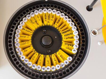 High-tech biochemical automatic analyzer in the blood transfusion laboratory.