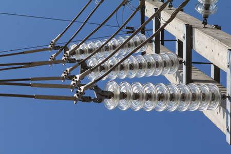 insulators: Glass insulators polarity protection.115 Kv Stock Photo