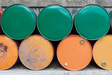 altogether: fuel old tank that lay altogether keep to is a drum. Stock Photo