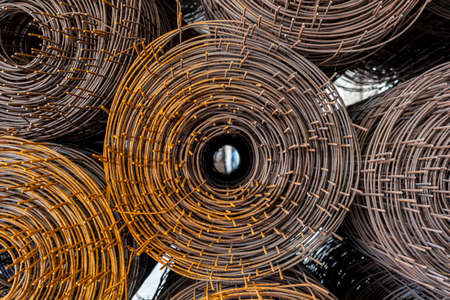 steel texture: Rolls of wire mesh placed them in storage awaiting disposal