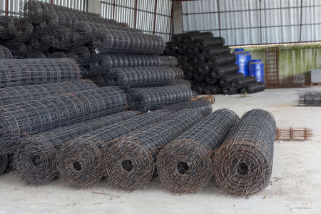 awaiting: Rolls of wire mesh placed them in storage awaiting disposal
