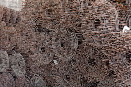 wire mesh: Rolls of wire mesh placed them in storage awaiting disposal