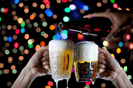 Beer glass bokeh background Reklamní fotografie - 125336154