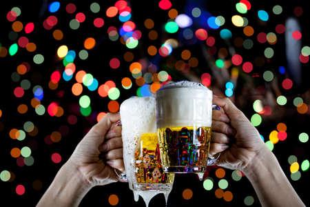 Beer glass bokeh background