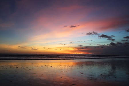 Multi colored sunset in Bali, Indonesia photo