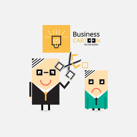 business cartoons: Business Cartoons Vectores