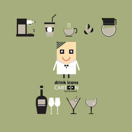 whie wine: drink icons Illustration