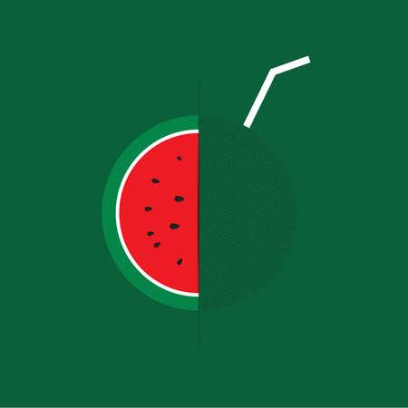 watermelon juice: Watermelon juice vector Illustration