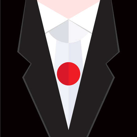 folded clothes: necktie in national colours of Japanese Illustration
