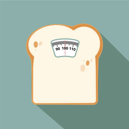 weighing scales with junk food