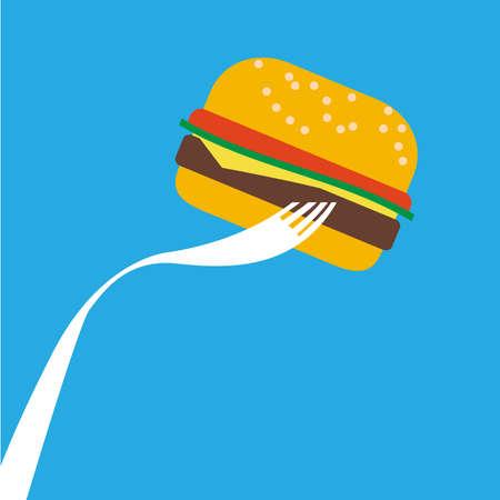 double chin: hamburger vector illustrations of Junk Food