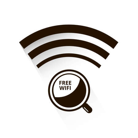 cybercafe: icon free wifi Illustration