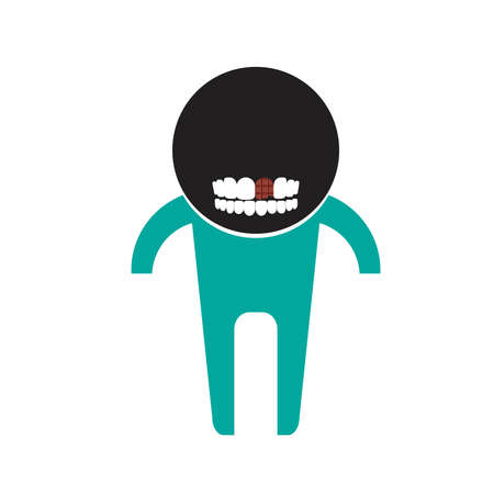 diente caries: Tooth decay is caused by Candy Vectores