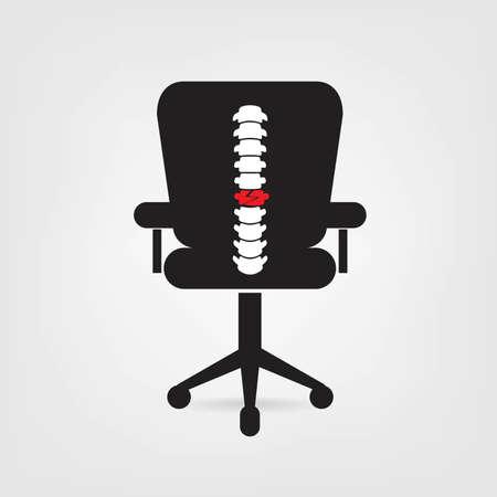 Spine chair design icon Illustration