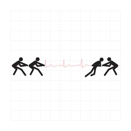 seizure: design elements. Cardiogram lines of healthy heart